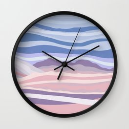 Mountain Scape // Abstract Desert Landscape Red Rock Canyon Sky Clouds Artistic Brush Strokes Wall Clock
