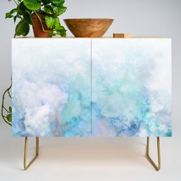 Fresh Blue and Aqua Ombre Frozen Marble Credenza