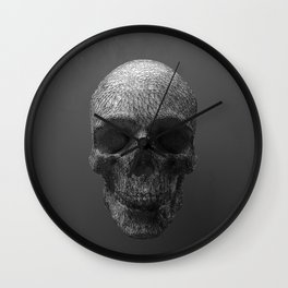 Geometric Grey Skull Lines Wall Clock