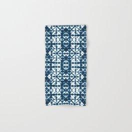 Tie dye, Shibori, indigo, chevron print Hand & Bath Towel