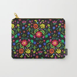 Folk Florals Dark Carry-All Pouch