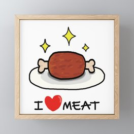 "I LOVE MEAT ""MANGA"" Framed Mini Art Print"
