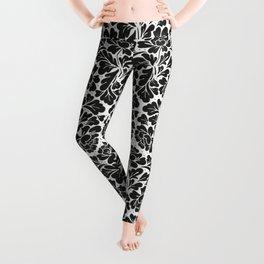 William Morris style Black & white pattern Leggings