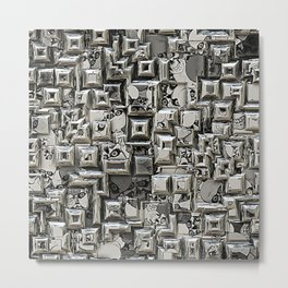 Abstract Geometric Skulls Collage Metal Print