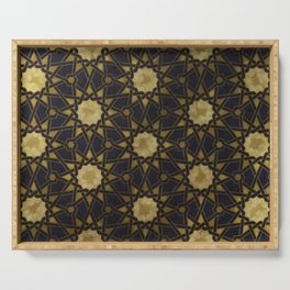 Islamic decorative pattern with golden artistic texture Serving Tray