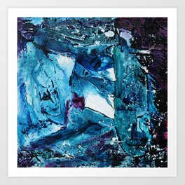 Faces in blue Art Print