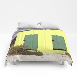Lime green Caribbean building Comforters