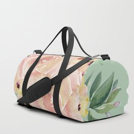 Wild Roses on Pastel Cactus Green Duffle Bag