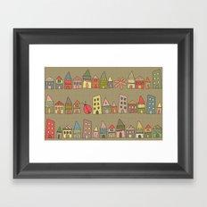 City {Housylands - brown} Framed Art Print