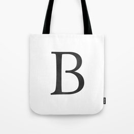 Letter B Initial Monogram Black and White Tote Bag