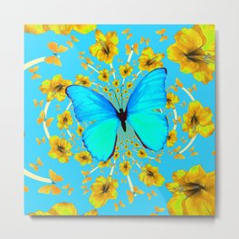 BLUE BUTTERFLY YELLOW AMARYLLIS PATTERNED ART Metal Print