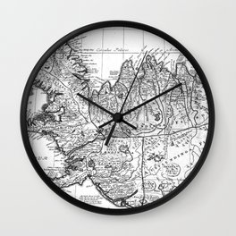 Vintage Map of Iceland (1761) BW Wall Clock