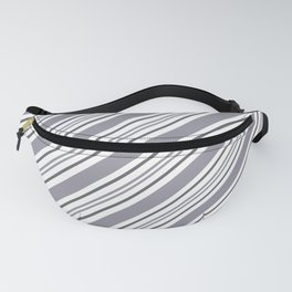 Pantone Lilac Gray and White Thick and Thin Angled Lines - Stripes Fanny Pack
