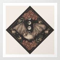 bat Art Prints featuring Bat  by Jessica Roux