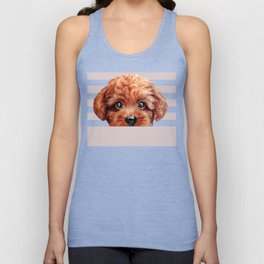 Toy poodle red brown Dog illustration original painting print Unisex Tank Top