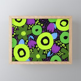 Bold Abstract Floral Inspired Pattern (Purple, Blue, and Shades of Green) Framed Mini Art Print