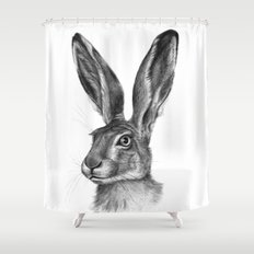 Cute Hare portrait G126 Shower Curtain
