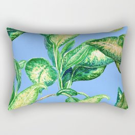 tropical leaves in blue Rectangular Pillow