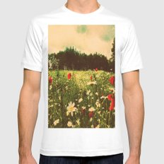 Poppies In Pilling  MEDIUM White Mens Fitted Tee