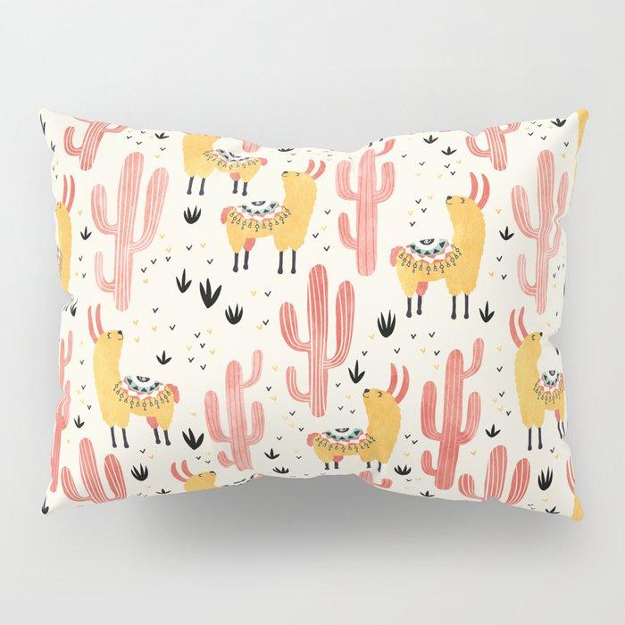Yellow Llamas Red Cacti Pillow Sham
