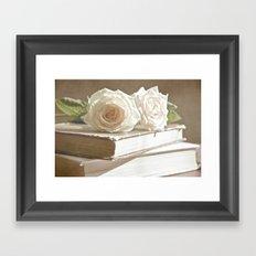 roses and books Framed Art Print
