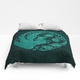 Traditional Teal Blue Chinese Phoenix Circle Comforters