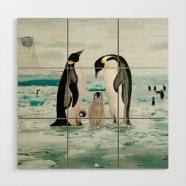 Emperor Penguin Family Wood Wall Art