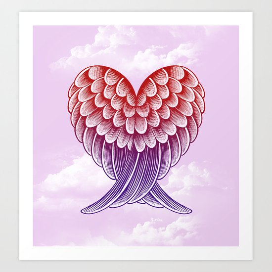 Heart Wings [Pink Version] Art Print