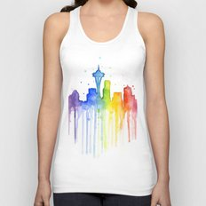 Seattle Skyline Rainbow Watercolor Unisex Tank Top