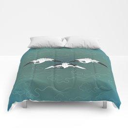 Three White Cranes Comforters