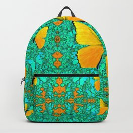 YELLOW BUTTERFLIES ON TURQUOISE GREEN PATTERNS Backpack
