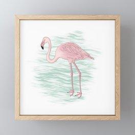 Flamingo Illustration Framed Mini Art Print