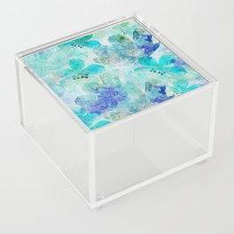 blue turquoise mixed media flower illustration Acrylic Box