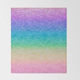 Rainbow Glitter Throw Blanket