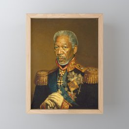 Morgan Freeman - replaceface Framed Mini Art Print