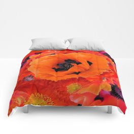 DECORATIVE ORANGE POPPY FLOWERS COMPOSITION Comforters
