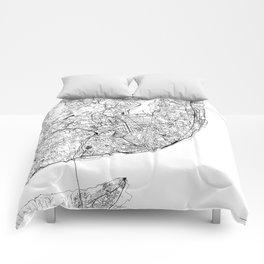 Lisbon White Map Comforters