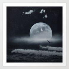 moon-lit ocean Art Print