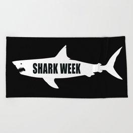 Shark week (on black) Beach Towel