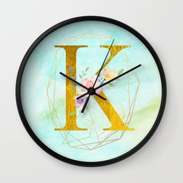 Gold Foil Alphabet Letter K Initials Monogram Frame with a Gold Geometric Wreath Wall Clock