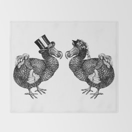 Mr and Mrs Dodo | Black and White Throw Blanket