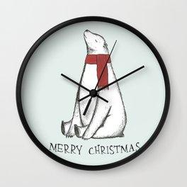 Sleepy Christmas Polar Bear Wall Clock