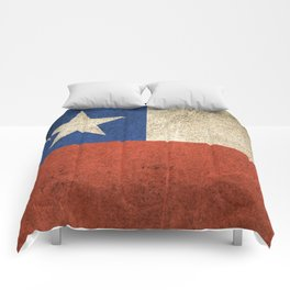 Old and Worn Distressed Vintage Flag of Chile Comforters