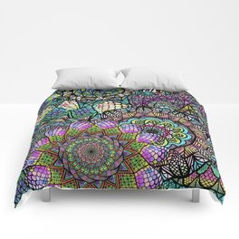 Colorful Floral Mandala Pattern with Geometric Drawings Comforters