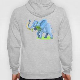 Blue Elephant Cartoon Artwork Hoody