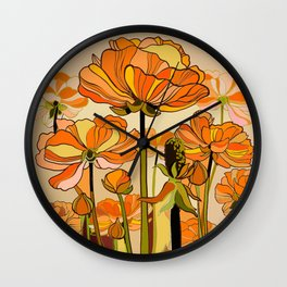 Orange California poppies, mid century, 70s retro, flowers Wall Clock