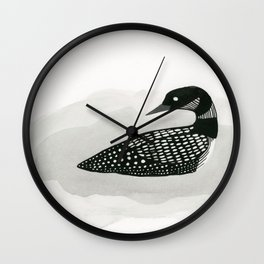 Loon - black and white bird illustration Wall Clock