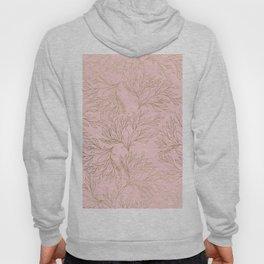 Elegant blush pink faux gold floral leaves Hoody