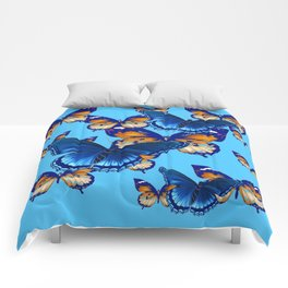 MODERN ART DECORATIVE BLUE-BROWN  BUTTERFLIES Comforters