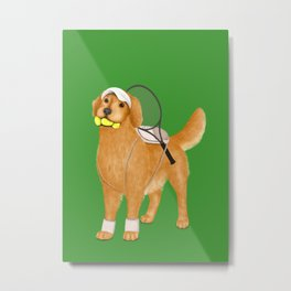 Ready for Tennis Practice (Green) Metal Print